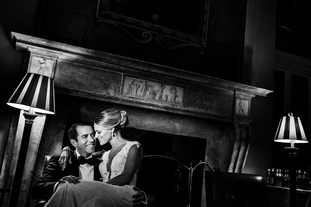 Beautiful black and white Harvard Club Wedding Photo